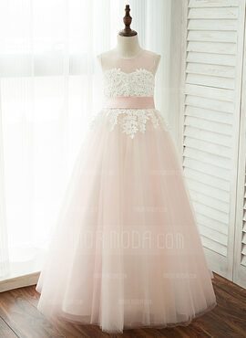 A-Line Floor-length Flower Girl Dress - Tulle/Lace Sleeveless Scoop Neck With Sash/Appliques (Detachable sash) (010122557)