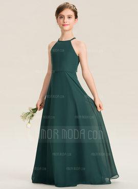 A-Linie U-Ausschnitt Bodenlang Chiffon Kleid für junge Brautjungfern (009173316)