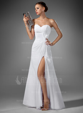 A-Line/Princess Sweetheart Floor-Length Chiffon Evening Dress With Ruffle Split Front (017022520)