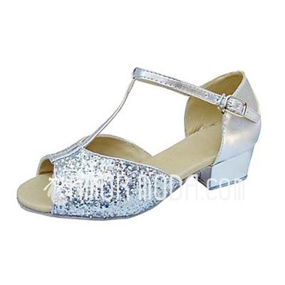Kinderen Kunstleer Sprankelende Glitter Hakken Sandalen Latijn met T-Riempjes Dansschoenen (053013374)