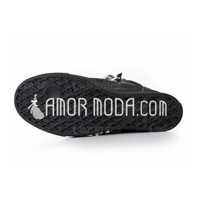 Echtleder Niederiger Absatz Stiefelette mit Kette Schuhe (088040893)