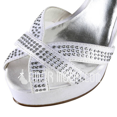 Frauen Satiniert Stöckel Absatz Peep Toe Plateauschuh Sandalen mit Straß (047011886)
