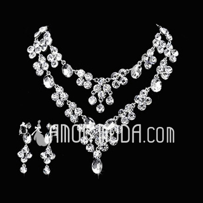 Gorgeous Alloy/Rhinestones Ladies' Jewelry Sets (011026996)