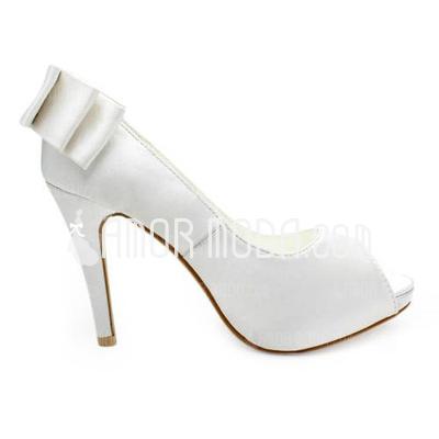 Kvinnor Satäng Cone Heel Peep Toe Plattformen Sandaler med Rosettknut (047005829)