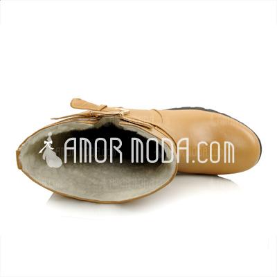 Kunstleder Flascher Absatz Flache Schuhe Stiefel-wadenlang mit Schnalle Geflochtenes Band Schuhe (088033436)