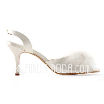 Vrouwen Satijn Stiletto Heel Peep Toe Sandalen Slingbacks met Gesp Veer (047011894)