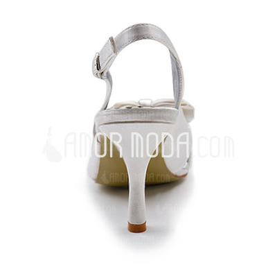 Frauen Satiniert Spule Absatz Geschlossene Zehe Absatzschuhe Slingpumps mit Flakem Schnalle (047010768)
