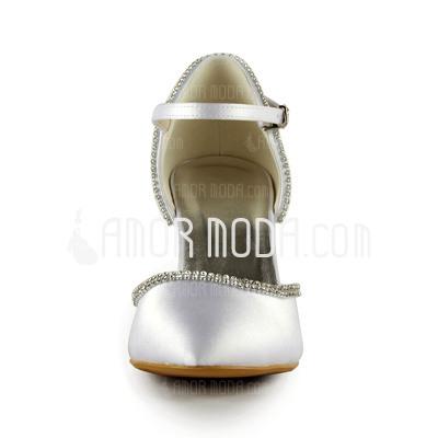 Frauen Satiniert Stöckel Absatz Geschlossene Zehe Absatzschuhe mit Straß (047024563)