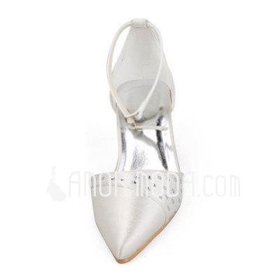 Frauen Satiniert Stöckel Absatz Geschlossene Zehe Absatzschuhe mit Straß (047011897)
