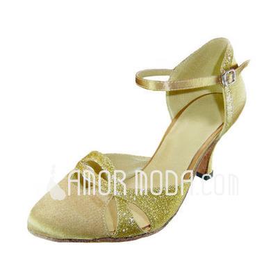 Vrouwen Satijn Sprankelende Glitter Hakken Pumps Ballroom met Enkelriempje Dansschoenen (053013014)