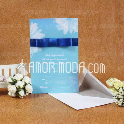 Estilo clásico Tarjeta plana Invitation Cards con Cintas (Juego de 50) (114030751)