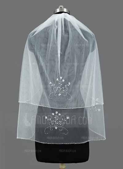 Zweischichtig Ellenbogen Braut Schleier mit Perlenbesetzter Saum (006034190)