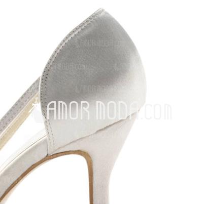 Vrouwen Satijn Spool Hak Peep Toe Sandalen met Bergkristal (047011049)