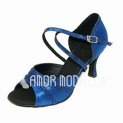 Vrouwen Satijn Sprankelende Glitter Sandalen Latijn Dansschoenen (053013033)