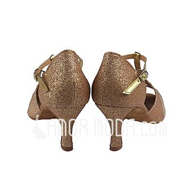 Vrouwen Kunstleer Sprankelende Glitter Hakken Sandalen Latijn Ballroom met T-Riempjes Dansschoenen (053013225)