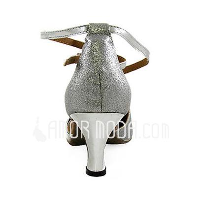 Vrouwen Kunstleer Sprankelende Glitter Hakken Pumps Ballroom met strik Enkelriempje Dansschoenen (053013370)