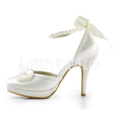 Frauen Satiniert Kegel Absatz Geschlossene Zehe Plateauschuh Absatzschuhe mit Flakem Synthetischen Perlen Satin Schnürsenkel (047005609)