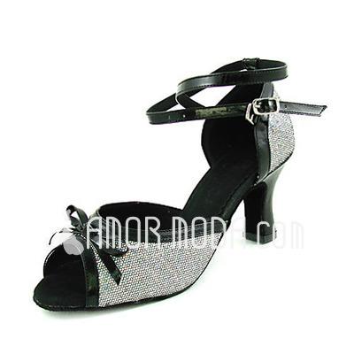 Vrouwen Imitatieleer Sprankelende Glitter Hakken sandalen Latijn Ballroom Bruiloft met Strik Dansschoenen (053013520)