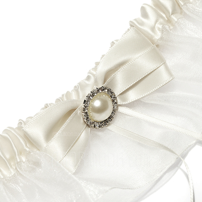 Klassisch Satiniert Organzas mit Des bowknot Perlen Hochzeit Strumpfband Rock (104024542)