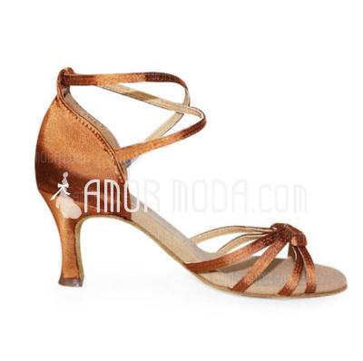 Vrouwen Satijn Hakken sandalen Latijn met Enkelriempje Dansschoenen (053006989)