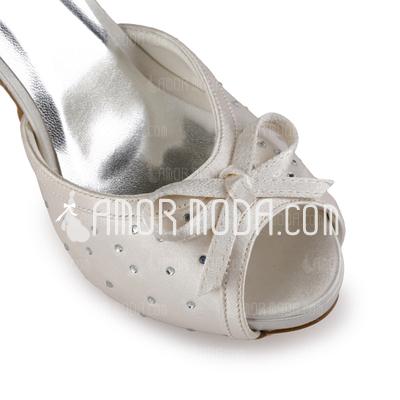 Kvinnor Satäng Cone Heel Peep Toe Plattformen Sandaler med Rosettknut Buckle Kristall (047005364)
