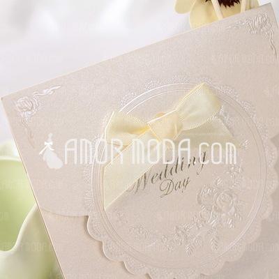 Klassieke Stijl Top Fold Invitation Cards met Linten (Set van 50) (114032367)