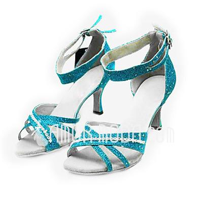 Frauen Funkelnde Glitzer Heels Sandalen Latin Ballsaal mit Knöchelriemen Tanzschuhe (053013273)