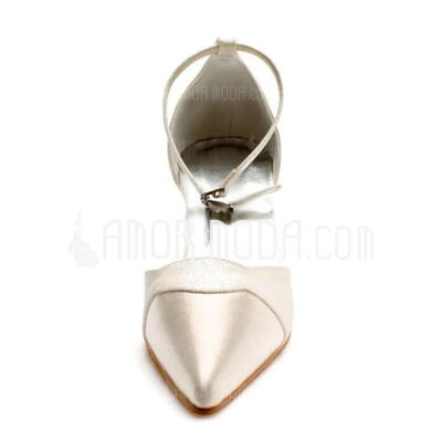 Vrouwen Satijn Chunky Heel Closed Toe Pumps met Buckle Sprankelende Glitter (047010764)