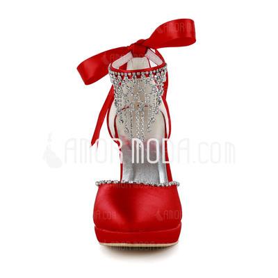 Vrouwen Satijn Cone Heel Closed Toe Plateau Pumps met Kralen Bergkristal (047005114)