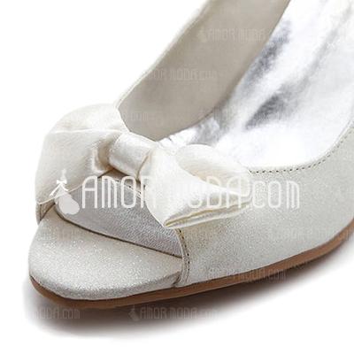 Vrouwen Satijn Spool Hak Peep Toe sandalen met Strik Buckle (047011046)