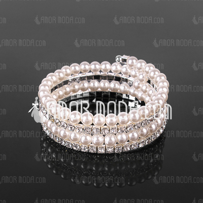 Chic Damen Strass Strand / Tennis Armband in Pearl  (095017940)