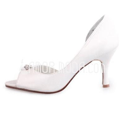 Frauen Satiniert Stöckel Absatz Peep Toe Sandalen mit Straß (047010765)