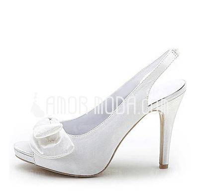 Kvinnor Satin Cone Heel Peep Toe Plattform Sandaler Slingbacks med Fören (047005160)