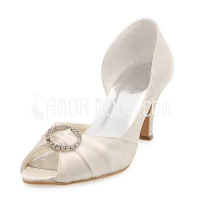Vrouwen Satijn Stiletto Heel Peep Toe Sandalen met Bergkristal (047010750)
