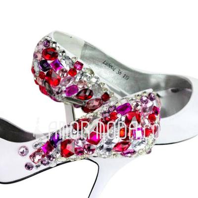 Vrouwen Imitatieleer Stiletto Heel Closed Toe Pumps met Bergkristal (047011809)