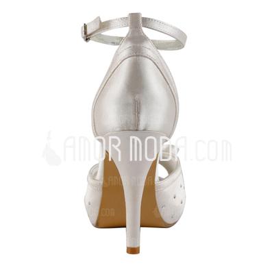 Frauen Satiniert Kegel Absatz Peep Toe Plateauschuh Sandalen mit Flakem Schnalle Kristall (047005364)