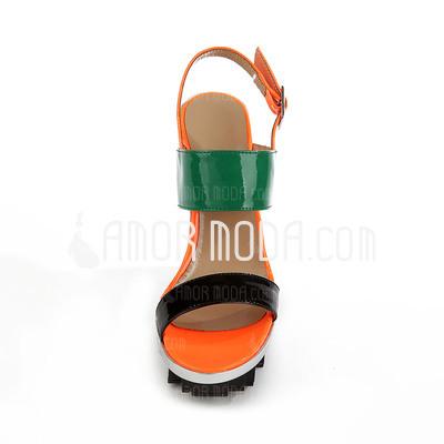 Lackleder Keil Absatz Plateauschuh Keile Slingpumps Sandalen mit Zweiteiliger Stoff (087026658)