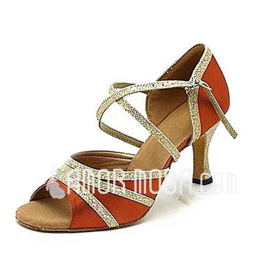 Vrouwen Satijn Sprankelende Glitter Hakken Latijn Ballroom Dansschoenen (053013164)
