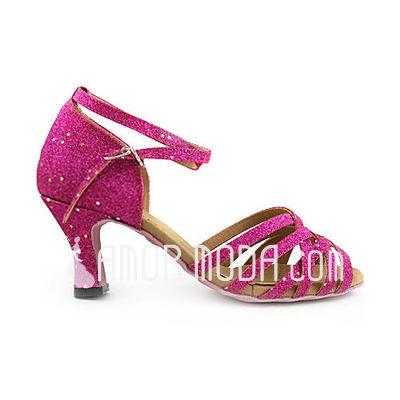 Vrouwen Imitatieleer Sprankelende Glitter Hakken sandalen Latijn Bruiloft Partij met Enkelriempje Dansschoenen (053013521)