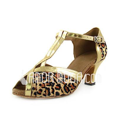 Vrouwen Satijn Imitatieleer Hakken sandalen Latijn met T-Riempjes Dansschoenen (053013252)
