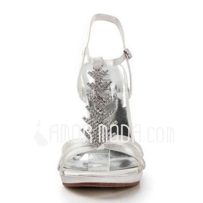 Vrouwen Satijn Stiletto Heel Plateau Sandalen met Bergkristal (047011850)