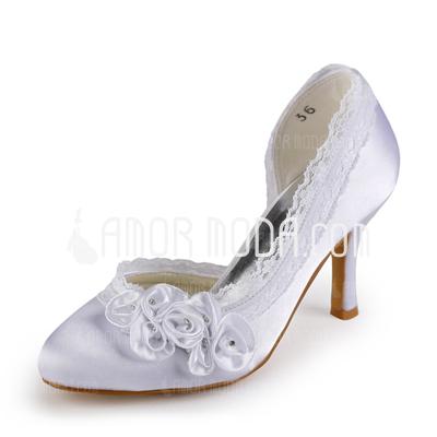 Frauen Satiniert Stöckel Absatz Geschlossene Zehe Absatzschuhe mit Straß Satin Blumen Stich Spitzen (047005347)