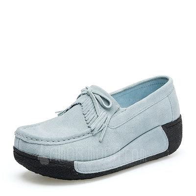 Frauen Veloursleder Keil Absatz Plateauschuh Geschlossene Zehe Keile mit Bowknot Quaste Schuhe (116149314)