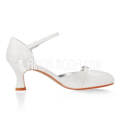 Vrouwen Kunstleren Chunky Heel Closed Toe Pumps met Buckle Bergkristal (047005349)