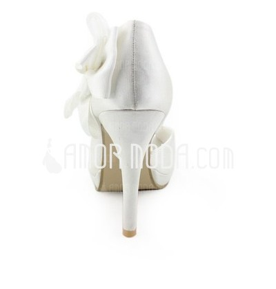 Frauen Satiniert Kegel Absatz Peep Toe Plateauschuh Sandalen mit Satin Blumen (047005728)