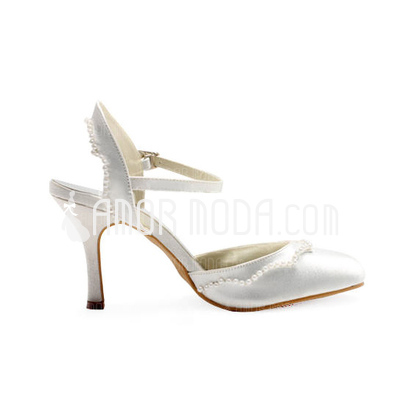Vrouwen Satijn Chunky Heel Closed Toe Pumps Slingbacks met Imitatie Parel Ruches (047010756)