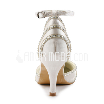 Vrouwen Satijn Stiletto Heel Closed Toe Pumps met Buckle Bergkristal (047005367)