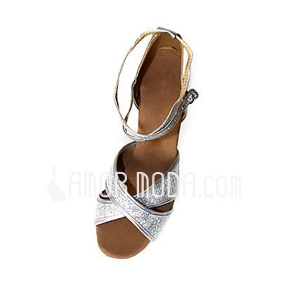 Imitatieleer Sprankelende Glitter Hakken Sandalen Latijn Dansschoenen met Enkelriempje (053013248)
