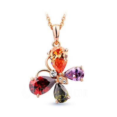 Schöne Legierung mit Zirkonia Damen Halsketten (011051768)