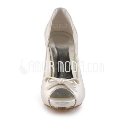 Kvinnor Satäng Cone Heel Peep Toe Plattformen Sandaler med Rosettknut Strass (047005369)